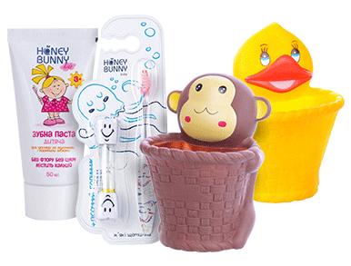 Тільки Учасник Клубу Щаслива мама має знижку 20% на дитячі зубні пасти, щітки ТМ Honey Bunny, в асортименті