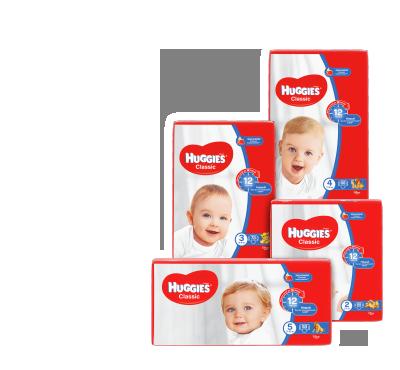 Дитячі підгузки (розмір 2 – 88 шт., розмір 3 – 78 шт., розмір 4 – 68 шт., розмір 5 – 58 шт.)  TM Huggies Classic