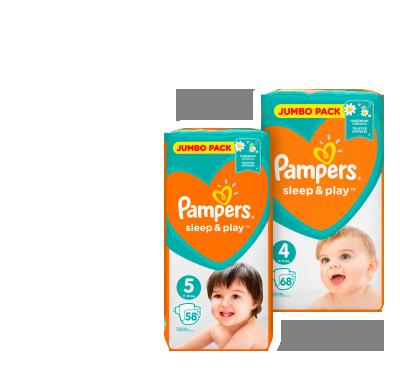 Дитячі підгузки (розмір 3 – 78 шт., розмір 4 – 68 шт., розмір 5 – 58 шт.) ТМ Pampers Sleep&Play
