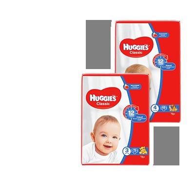 Huggies Classic Детские подгузники (размер 2 — 88 шт., размер 3 — 78 шт., размер 4 — 68 шт., размер 5 — 58 шт.)