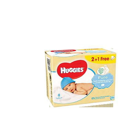 Huggies Детские влажные салфетки «PURE 2+1» 168 шт.